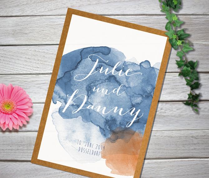 Einladung, Hochzeit, Aquarell-Design, Kalligraphie, Hochzeitskarten Aquarell