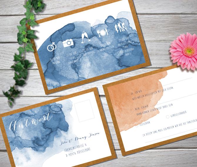 Einladung, Hochzeit, Aquarell-Stil, Kraftkarton, hochzeitskarten nrw