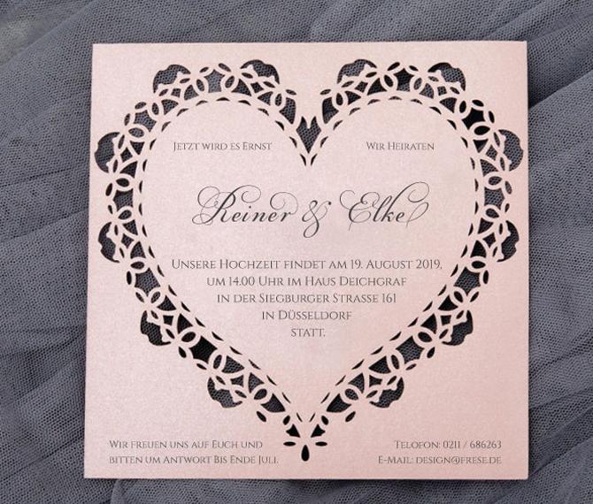 exklusive Einladungskarte, Lasercut, romantische Herzform