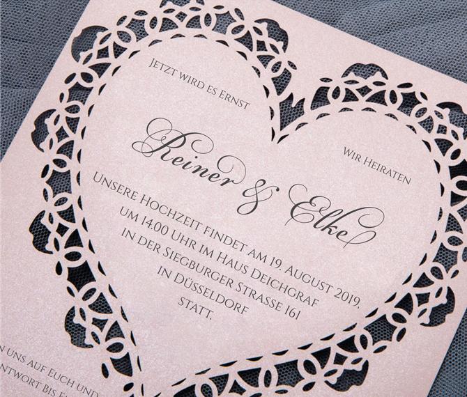 elegante Hochzeitskarte, Lasercut, romantisches Herz, Hochzeitskarten Lasercut