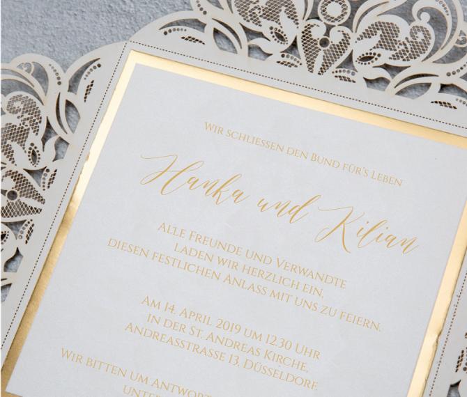 elegante Hochzeitskarte, Lasercut, Gold, Kalligraphie, Hochzeitspapeterie edel