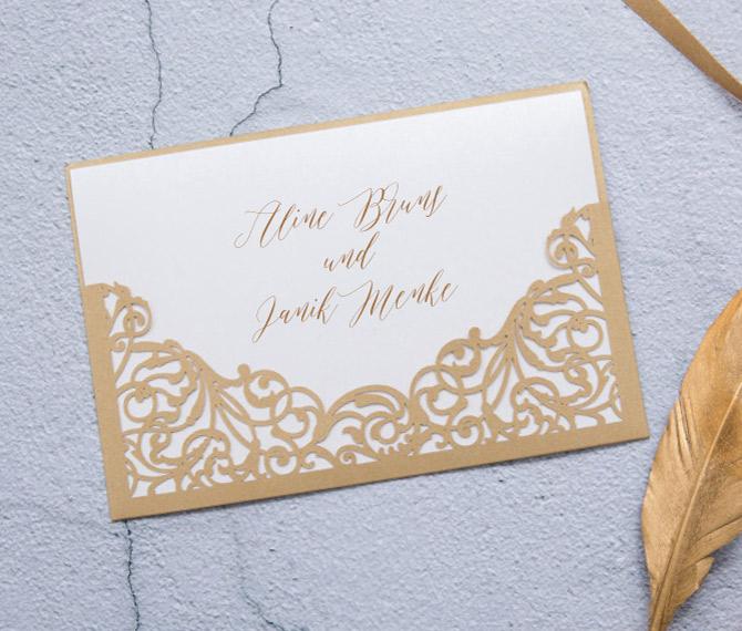 elegante Hochzeitskarte, goldener Edelkarton, Lasercut, Hochzeitspapeterie Gold