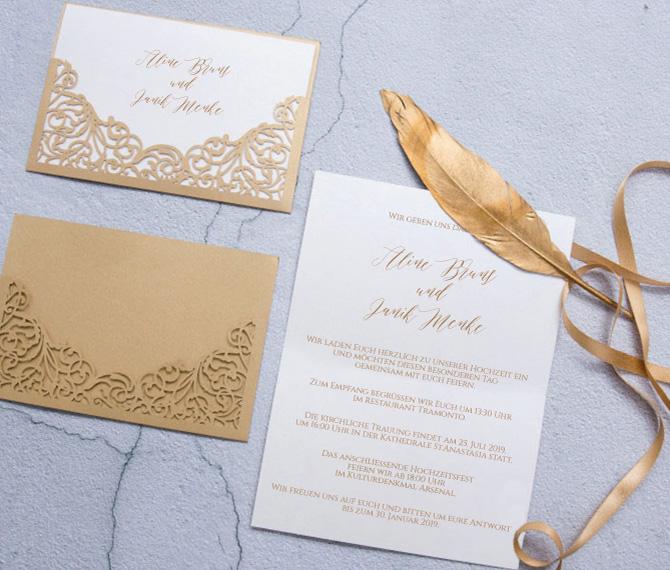 elegante Hochzeitskarte, Edelkarton, Druckerei Düsseldorf