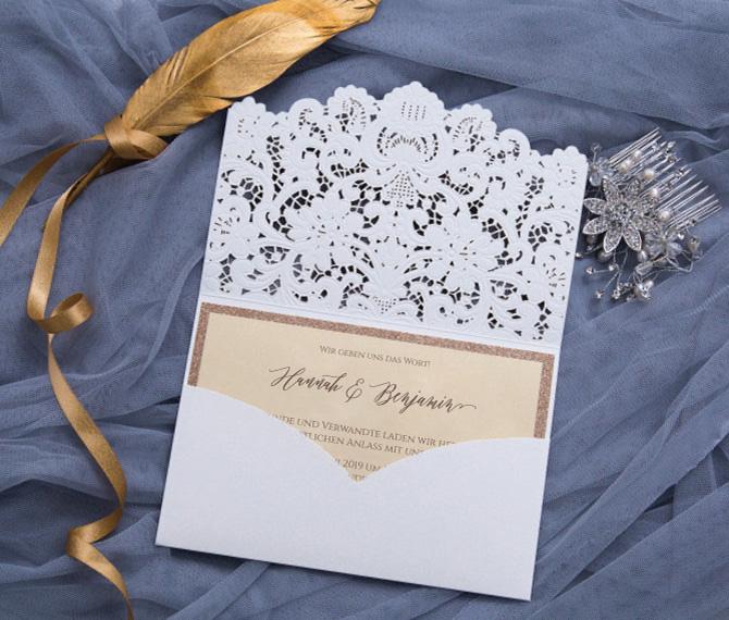 Einladungskarte, filigraner Lasercut, weißer Edelkarton, Hochzeitskarten Laserschnitt