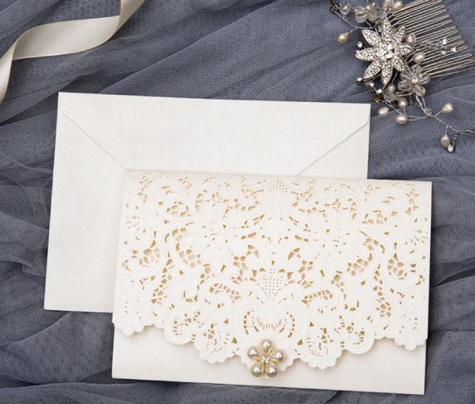 """elegante Hochzeitskarte """"Perlenreich"""", Lasercut, Perle, Hochzeitspapeterie Lasercut"""