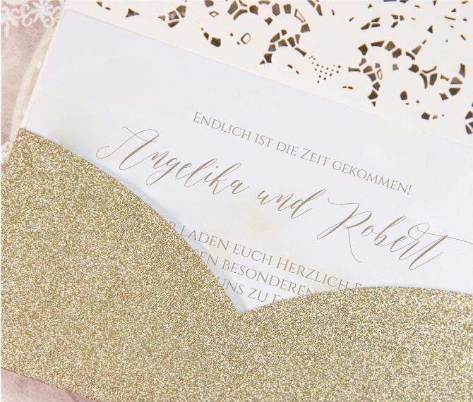 Hochzeitskarte, Pocket, Gold, Kalligraphie, hochzeitskarten glitzer