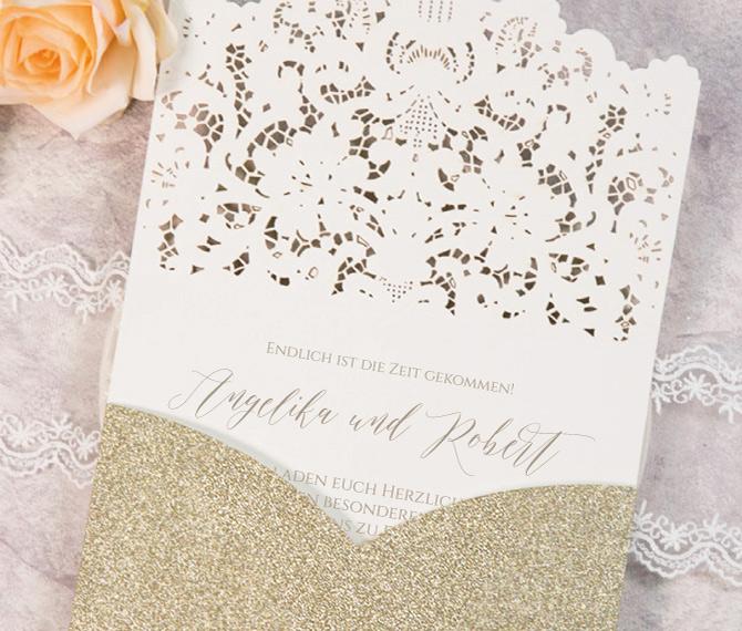 """Hochzeitskarte """"Goldrausch"""", goldener Edelkarton, Gold, Lasercut, papiergold hochzeitspapeterie"""
