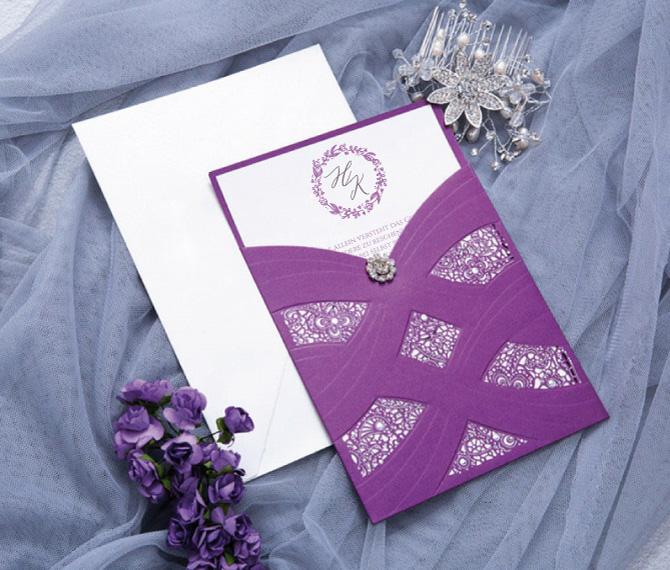 elegante Hochzeitskarte, Purpur-Karton, Lasercut, hochzeitskarten lasercut