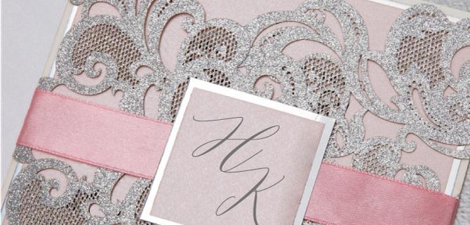 Einladung in Silber und Rosé, Lasercut, filigrane Ornamente, hochzeitskarten lasercut