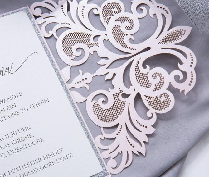elegante Hochzeitskarte, romantisches Design, Lasercut, hochzeitskarten floral