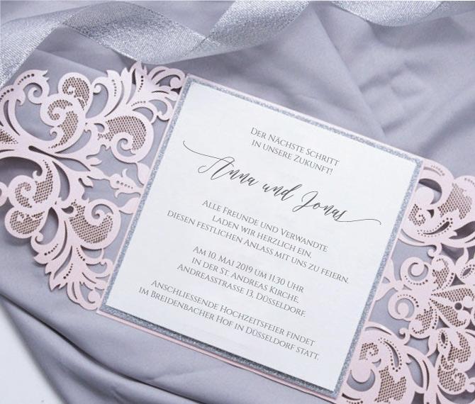 elegante Hochzeitskarte, edles Papier, Lasercut, hochzeitskarten design
