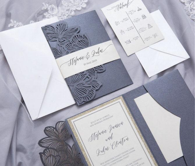 elegante Hochzeitskarte, Lasercut, schwarz-gold, floral, hochzeitspapeterie edel