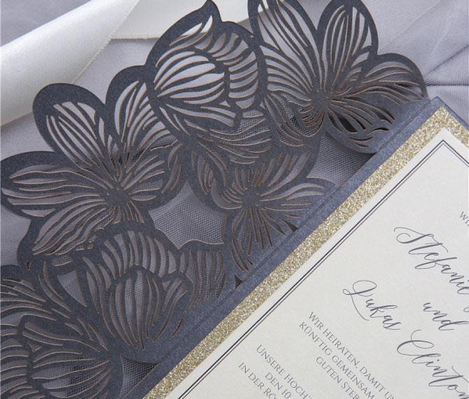 Hochzeitskarte, schwarze Eleganz, edler Lasercut, hochzeitskarten luxus