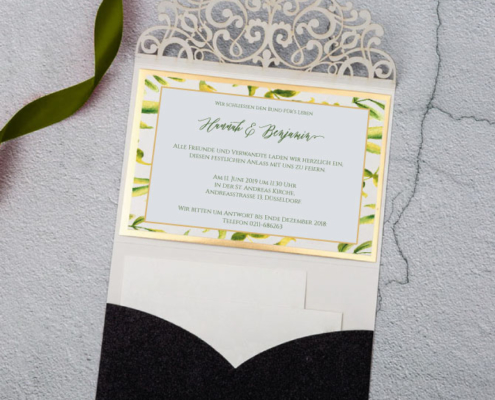 elegante Hochzeitskarte, Edelkarton, Gold, Lasercut, hochzeitskarten luxus