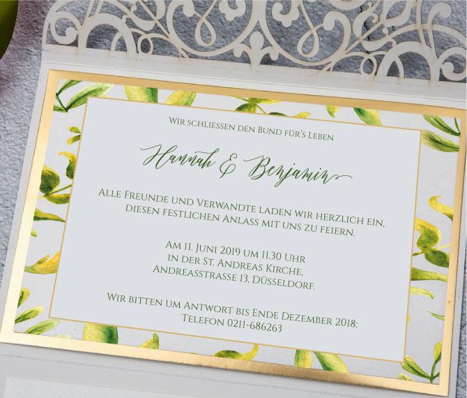 exklusive Hochzeitskarte mit majestätischem Typographie-Design, Hochzeitskarten floral