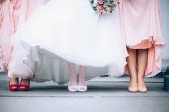 Braut Brautjungfern Blumen Rosa