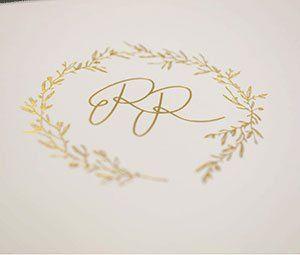 Monogramm, Hochzeitspapeterie Gold
