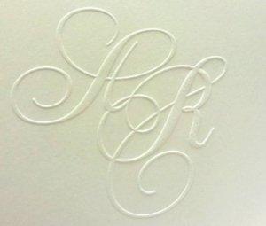 Prägung Hochzeitskarte Monogramm