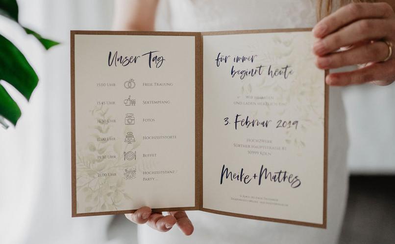 Hochzeitseinladung Vintage Kraftpapier offen