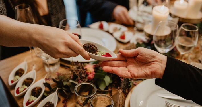 Hochzeitsessen, Tisch, Menü, Dekoration
