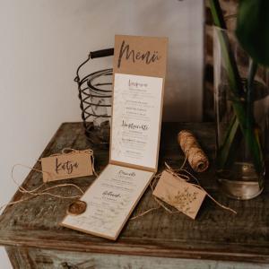 Menükarte, Tischkarte, Vintage, Hochzeit, Kraftpapier