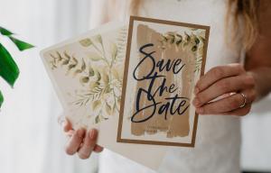 Save the Date Karte Pflanzen Vintage Kraftpapier