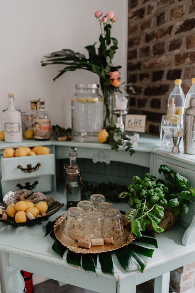 Vintage Hochzeit Bar Zitronenlimonade