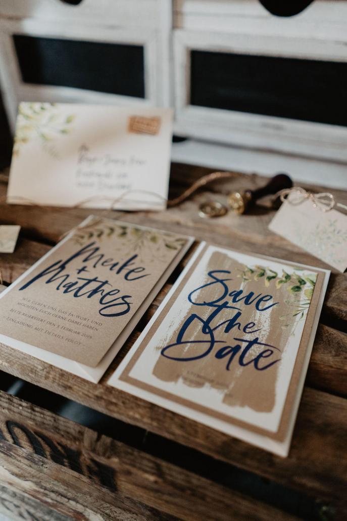 Vintage Hochzeit Save the Date Karten