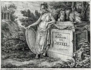 Visitenkarte Besuchskarte Baron von Castell