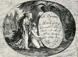 Visitenkarte Besuchskarte Baronin Montigny