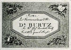 Visitenkarte Besuchskarte Dr. Burtz