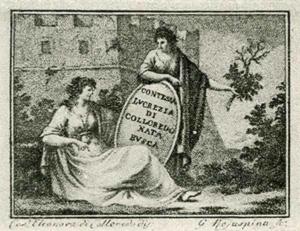 Visitenkarte besuchskarte Gräfin Lucrezia