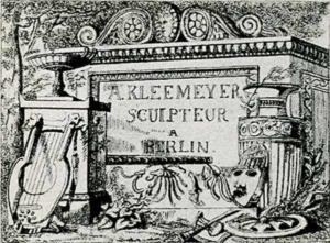Visitenkarte Besuchskarte Bildhauer A. Kleemeyer