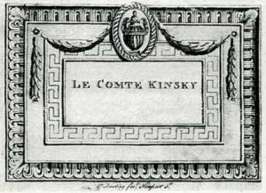 Visitenkarte Besuchskarte le Comte Kinsky