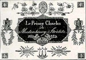 Visitenkarte Besuchskarte Prinz Karl von Mecklenburg
