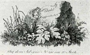 Visitenkarte Besuchskarte Kupferstecher Rahl