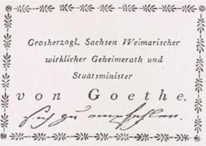 Visitenkarte Besuchskarte J. W. von Goethes