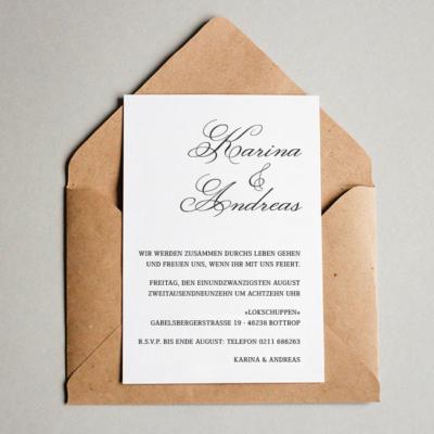 Hochzeitskarten Kraftpapier elegante Schrift Briefumschlag hochwertiger Karton